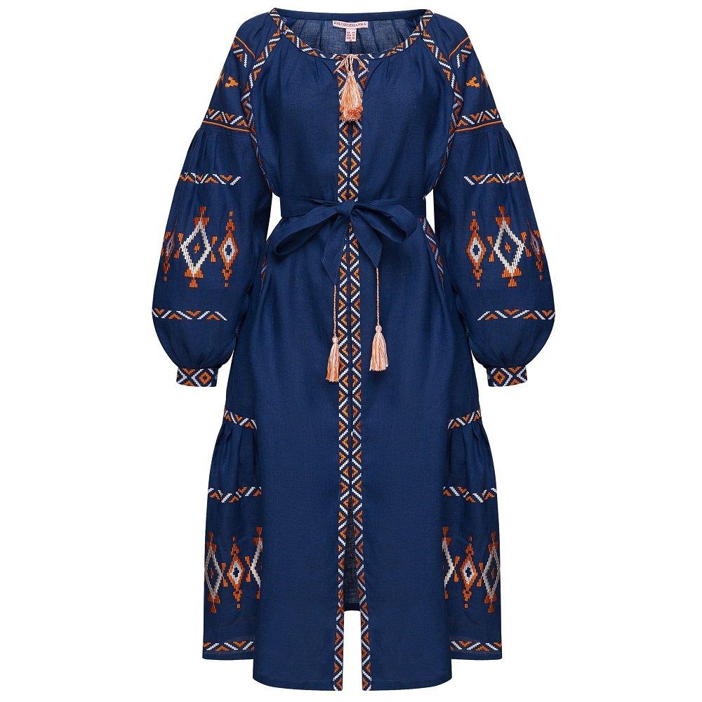 dd323f456df8030 Folkmart™ | Платье вышиванка Слобожанка - Василиса (синя)