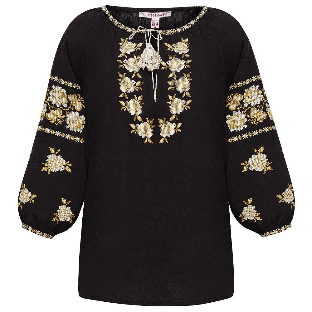 Женская вышиванка Слобожанка - Ружа (молочно-золотая вышивка) 44 e20d04212af0f