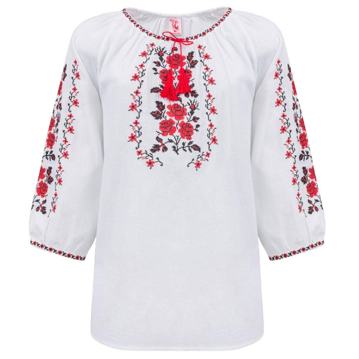 Женская блуза вышиванка Слобожанка - Букет роз (красный) 48 1d4f918e15693