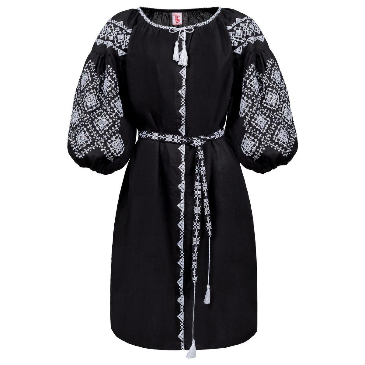 Плаття вишиванка Слобожанка з поясом - Іванна (чорна) 48 98e6d11793116