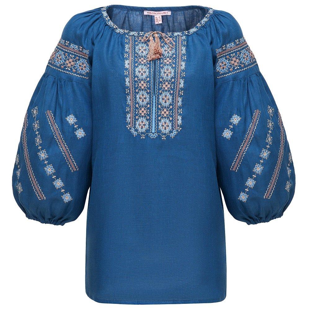ec9223d26b08a5 Folkmart™   Жіноча вишиванка Слобожанка - Милослава (синій льон)