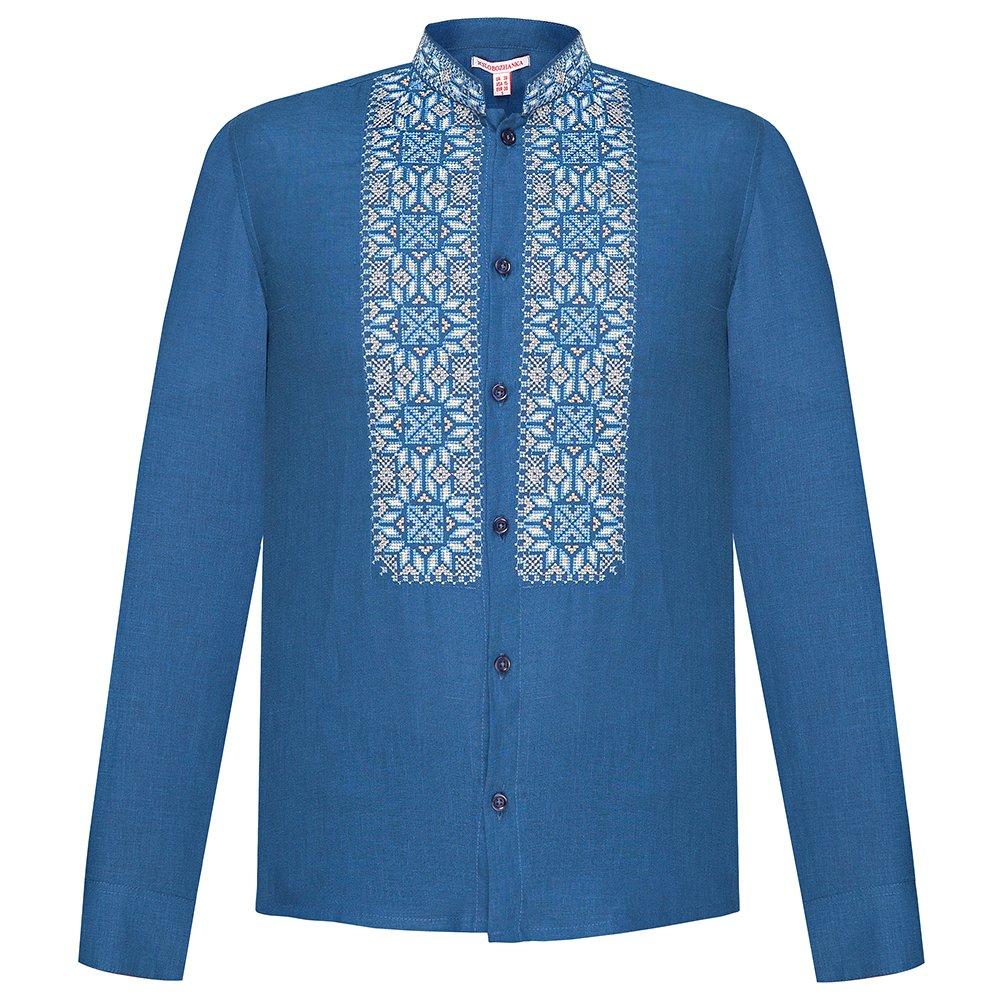 3928babd12b3fd Folkmart™   Сорочка чоловіча вишиванка Слобожанка - Всеслав (синій льон)