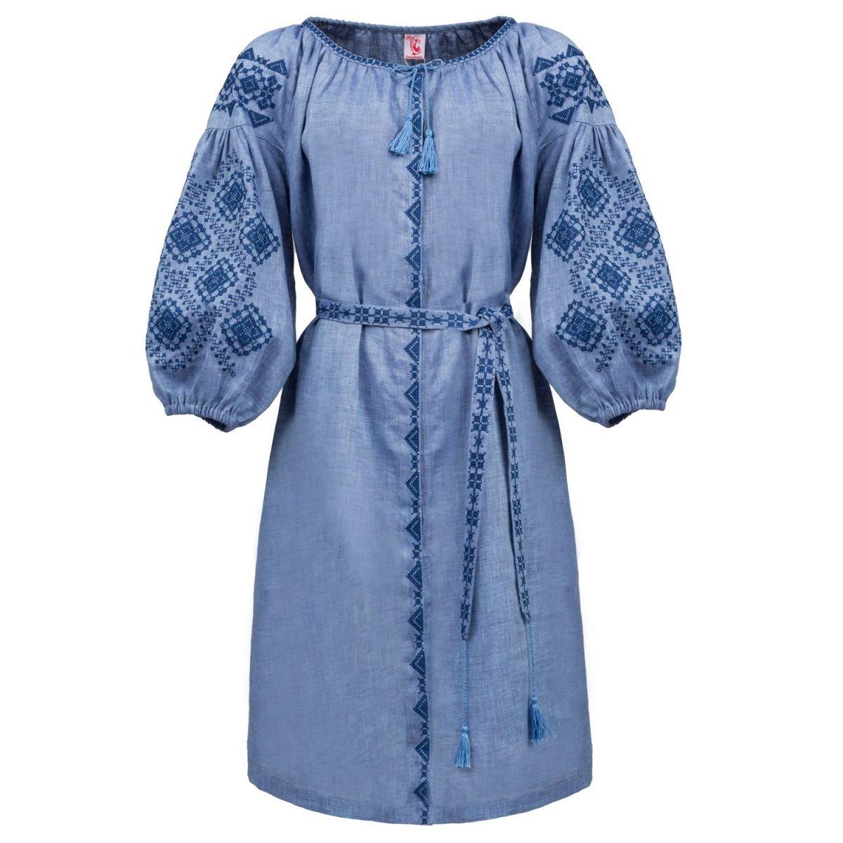 Плаття вишиванка Слобожанка з поясом - Іванна (блакитна) 42 1443da9f625fa
