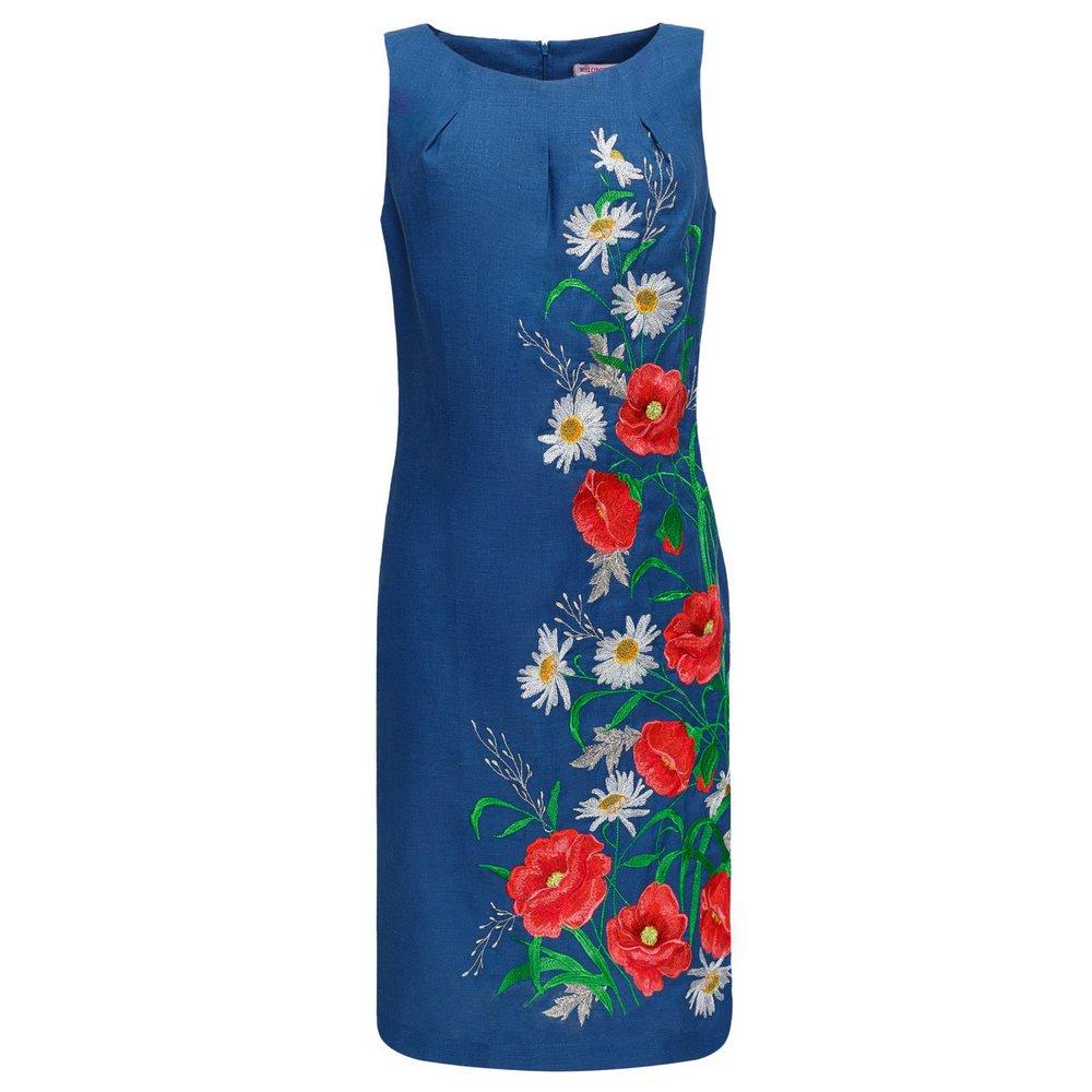 f6b7de6115ee37 Folkmart™   Сукня вишиванка Слобожанка - Ромашкове поле (темно-синій ...