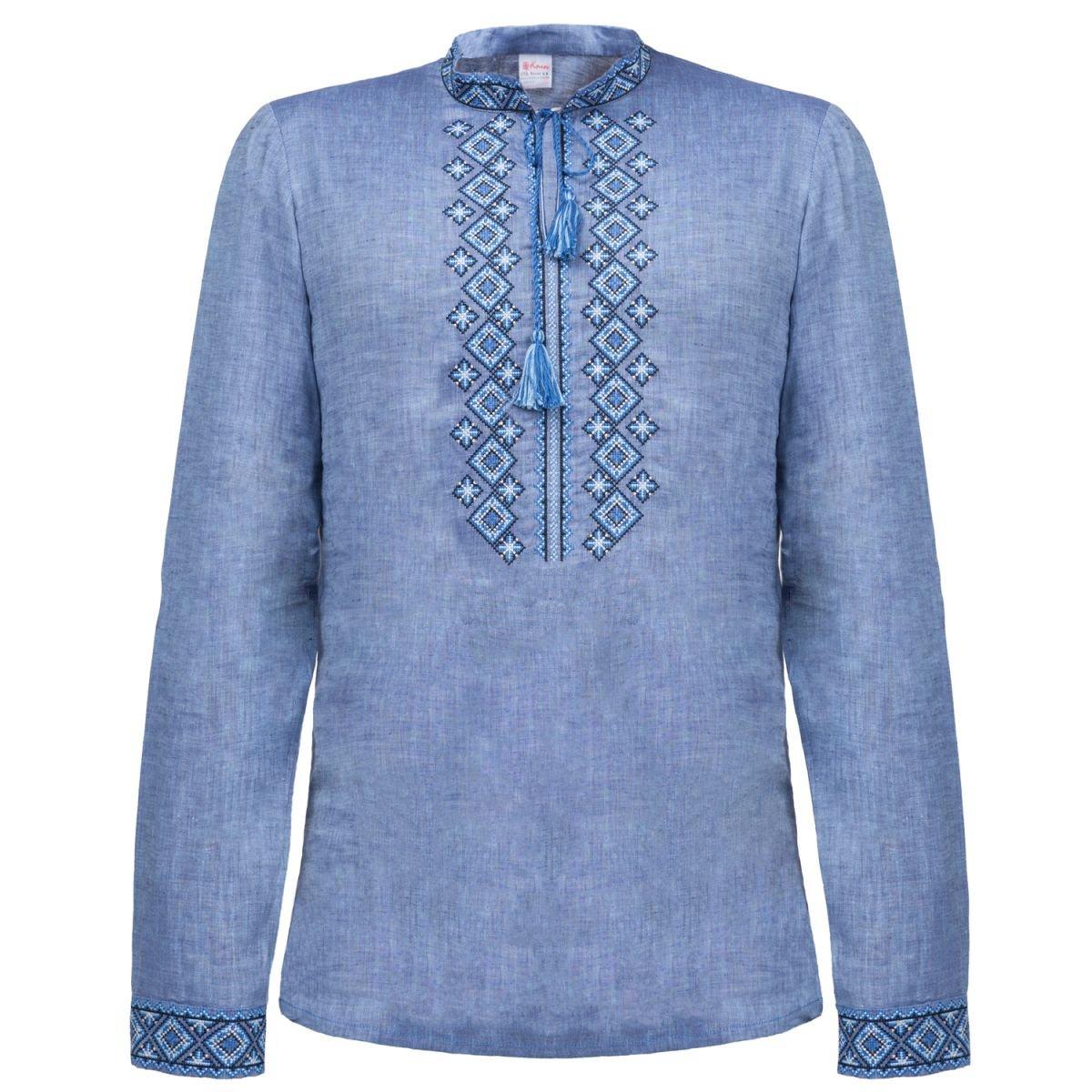 Сорочка чоловіча вишиванка Колос - Фірмова синя 44 c16623630d56b