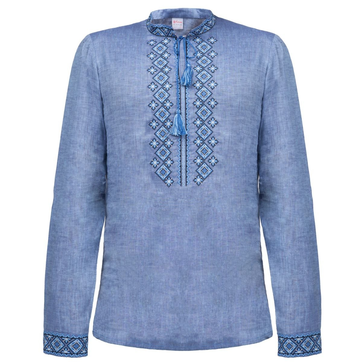 Сорочка чоловіча вишиванка Колос - Фірмова синя 50 2b2f092811128