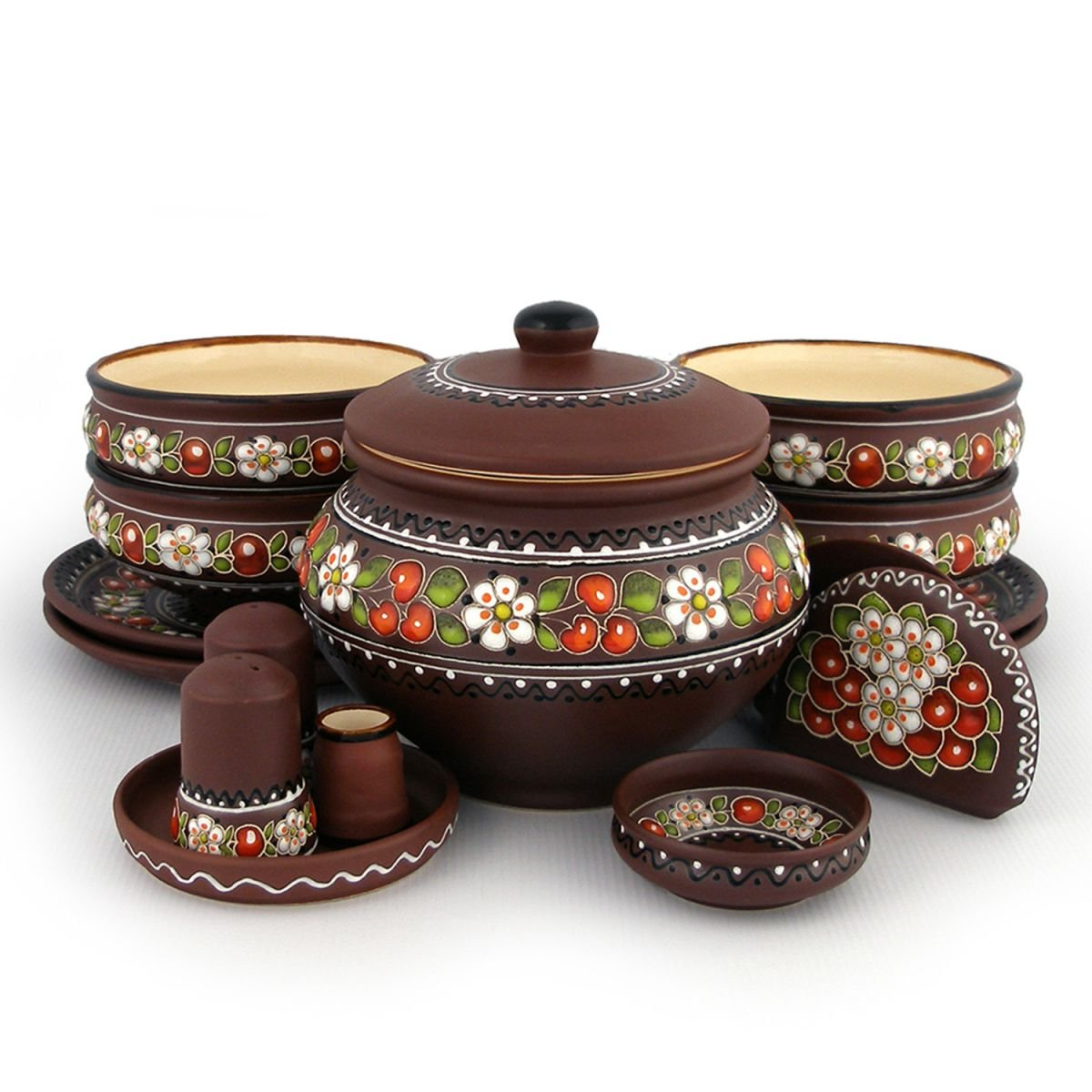Folkmart™ | Набор ВИШЕНКА - посуда из глины